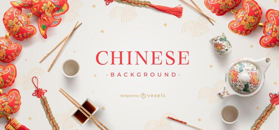 Diseño de fondo de elementos chinos
