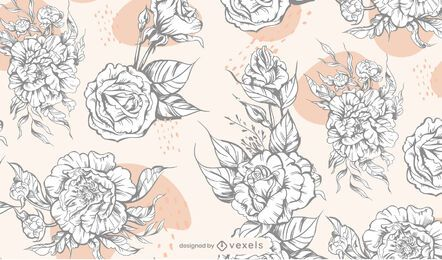 Black and white flowers pattern design