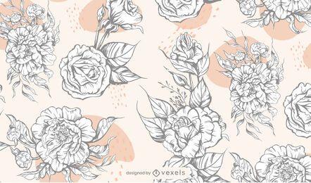 Desenho de padrão de flores em preto e branco
