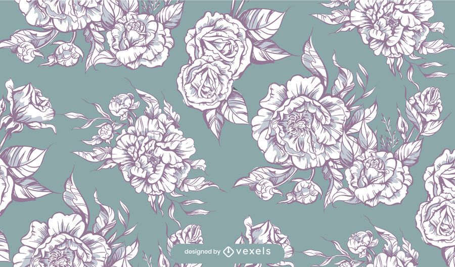 Black and white peonies pattern design