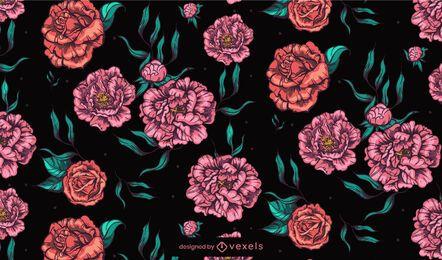 Diseño de patrón de flores de peonías