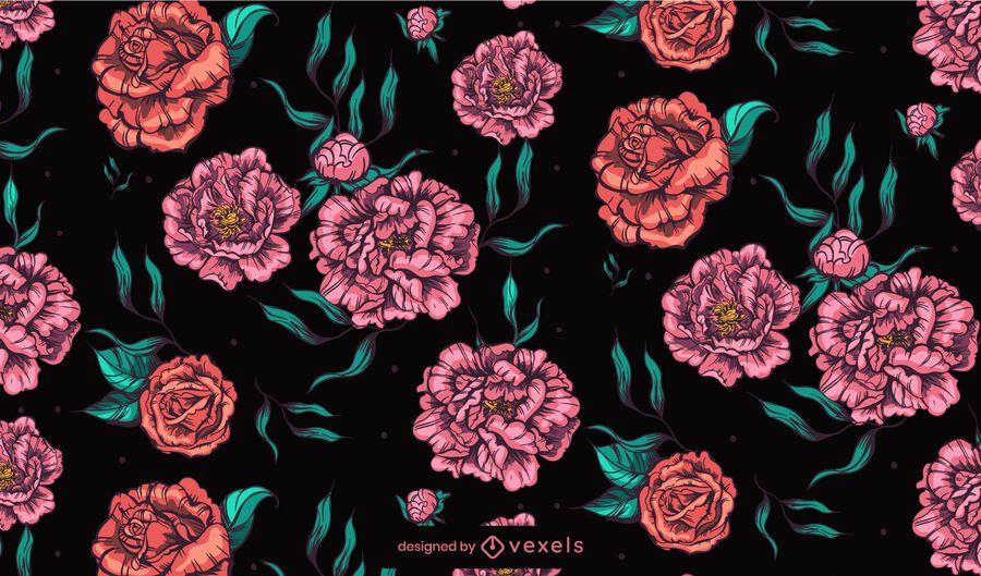 Desenho de padrão de flores de peônias