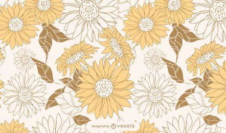 Diseño de patrón floral de girasoles