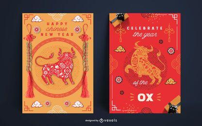 Chinesisches Neujahrsplakat-Set-Design