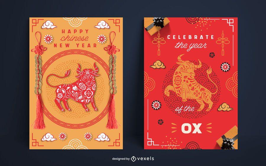 Cenografia de pôster de ano novo chinês