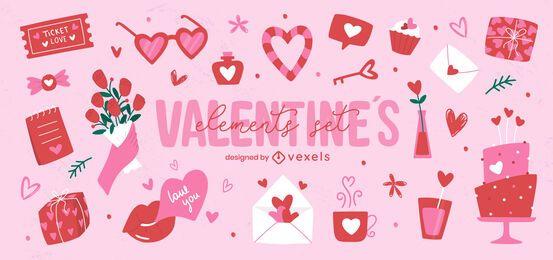 Valentinstag Elemente gesetzt