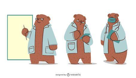 Urso conjunto de caracteres médico
