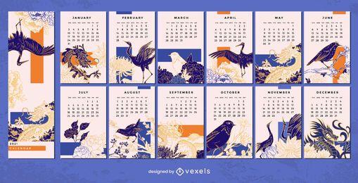 Diseño de calendario chino 2021