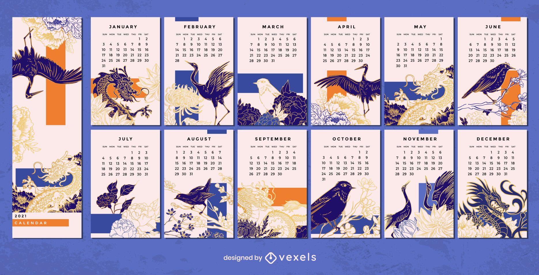 Chinese 2021 calendar design