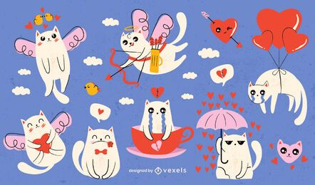Valentine's day cats set design
