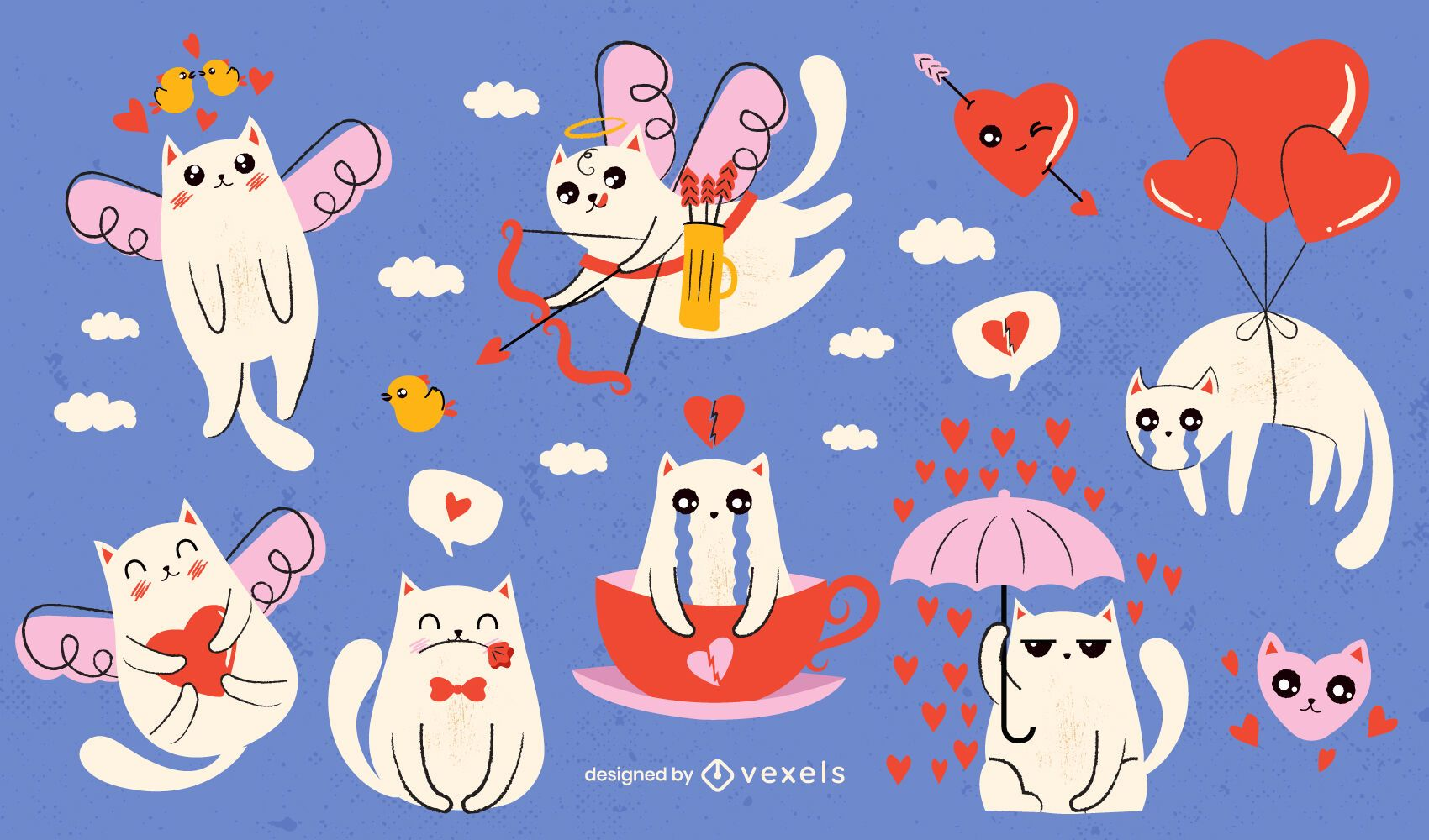 Diseño de escenografía de gatos de san valentín