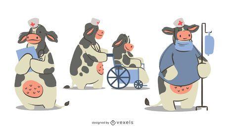 Diseño de conjunto de caracteres de enfermera de vaca