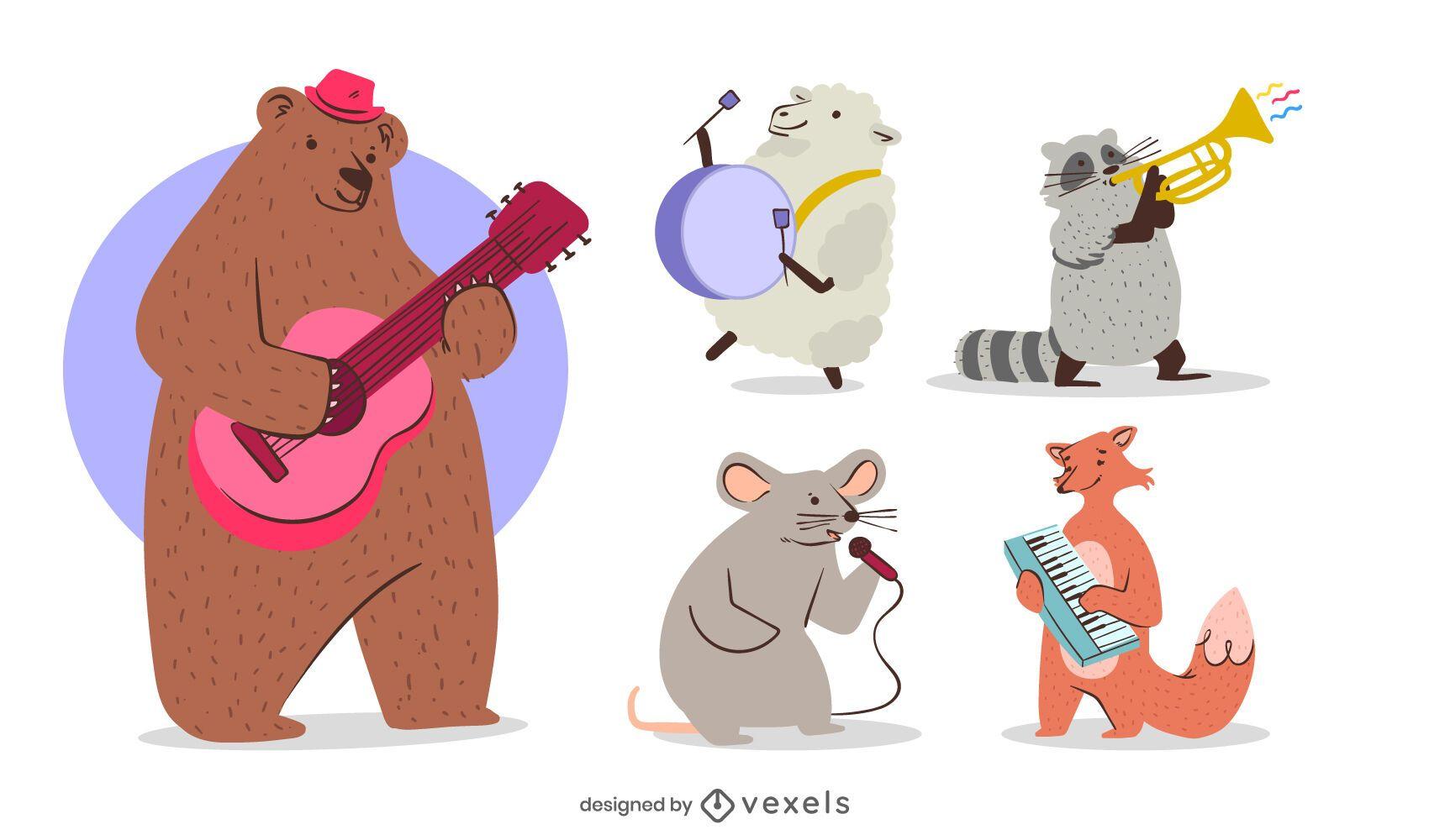 Musical animals character set design