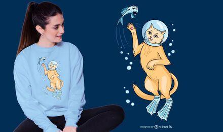Diseño de camiseta Scuba Cat