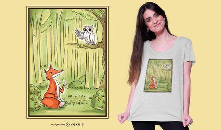 Diseño de camiseta ilustrada de zorro y búho