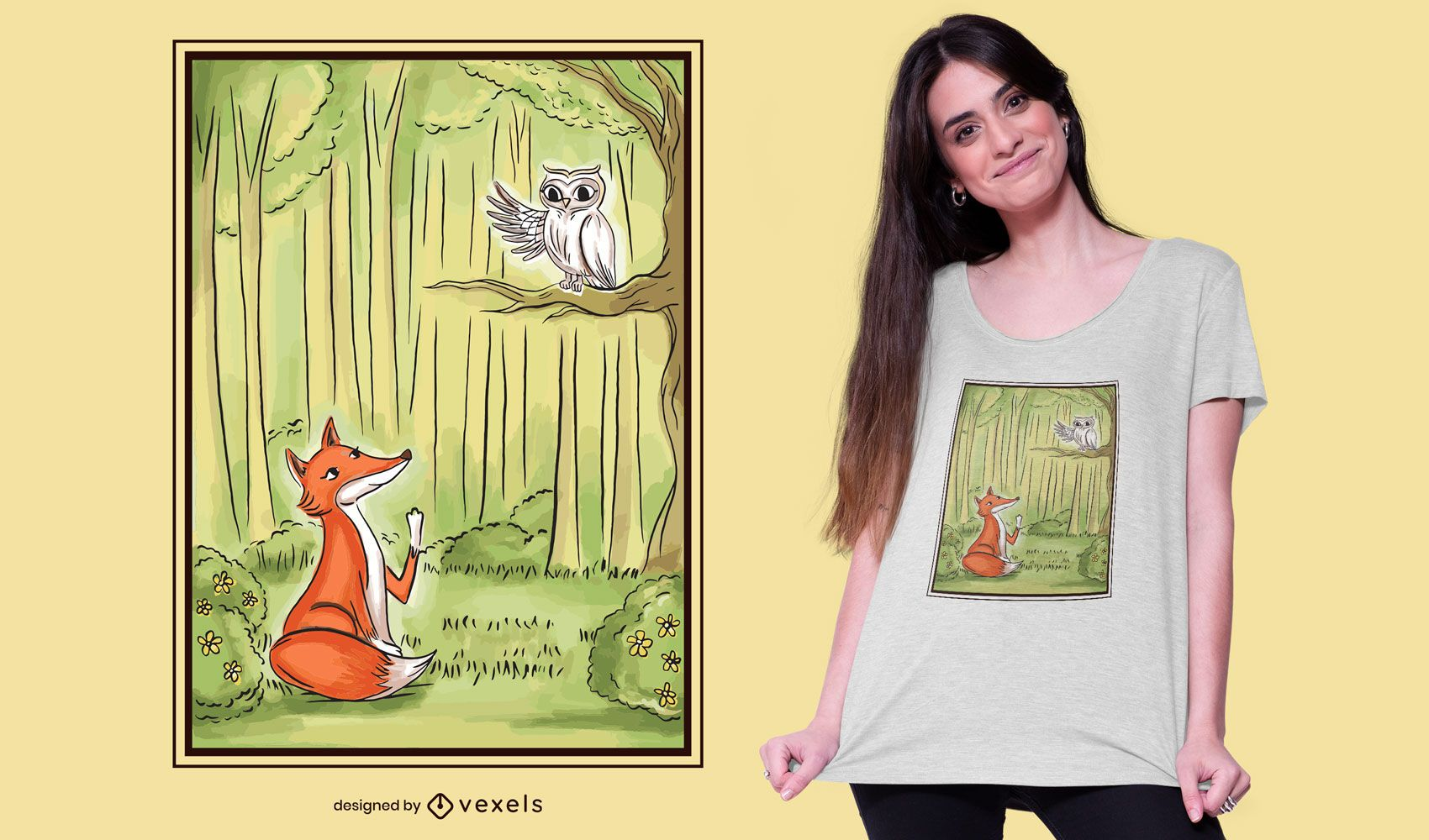 Fox and Owl Illustrated T-shirt Design