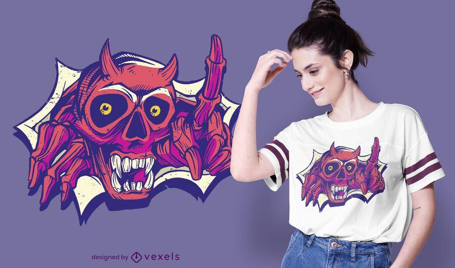 Diseño de camiseta esqueleto demonio