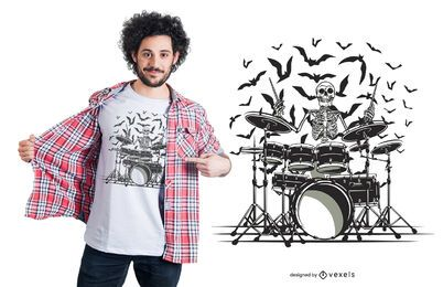 Skeleton Drummer T-Shirt Design