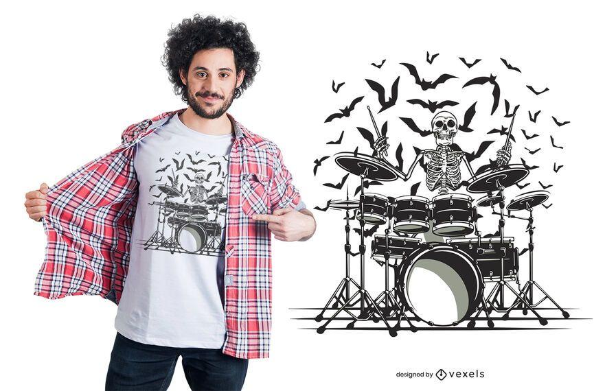 Desenho de camiseta de baterista esqueleto