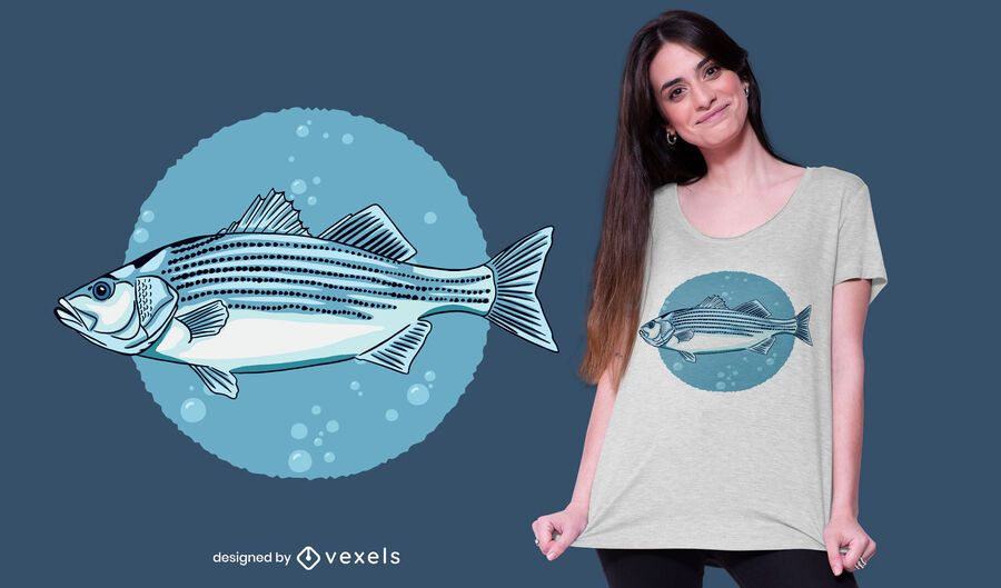 Diseño de camiseta de pez lubina a rayas