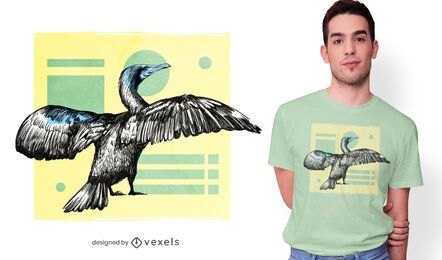 Diseño de camiseta de pájaro cormorán