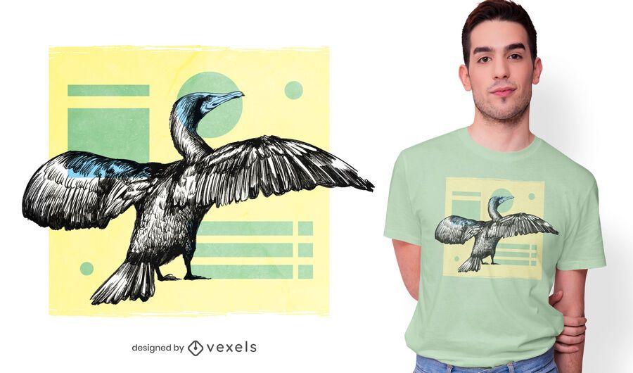 Design de t-shirt do pássaro cormorant