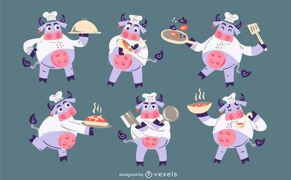 Diseño de conjunto de personajes de vacas chef