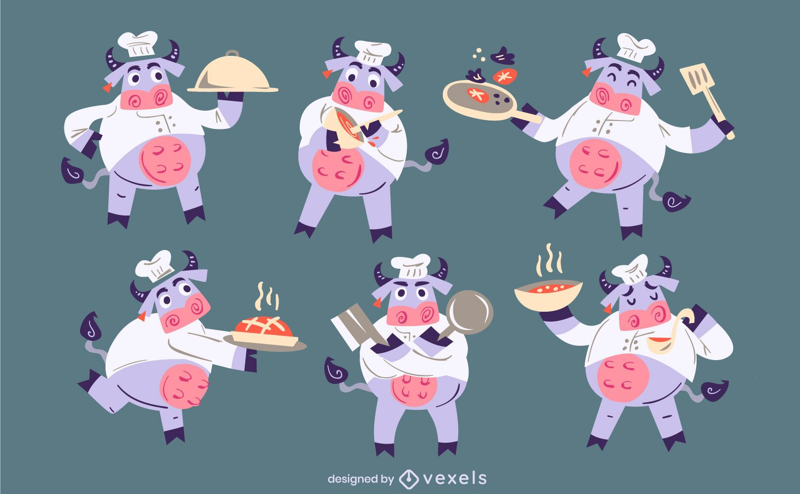 Dise?o de conjunto de personajes de vacas chef