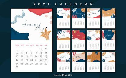 Projeto abstrato do calendário de 2021 anos
