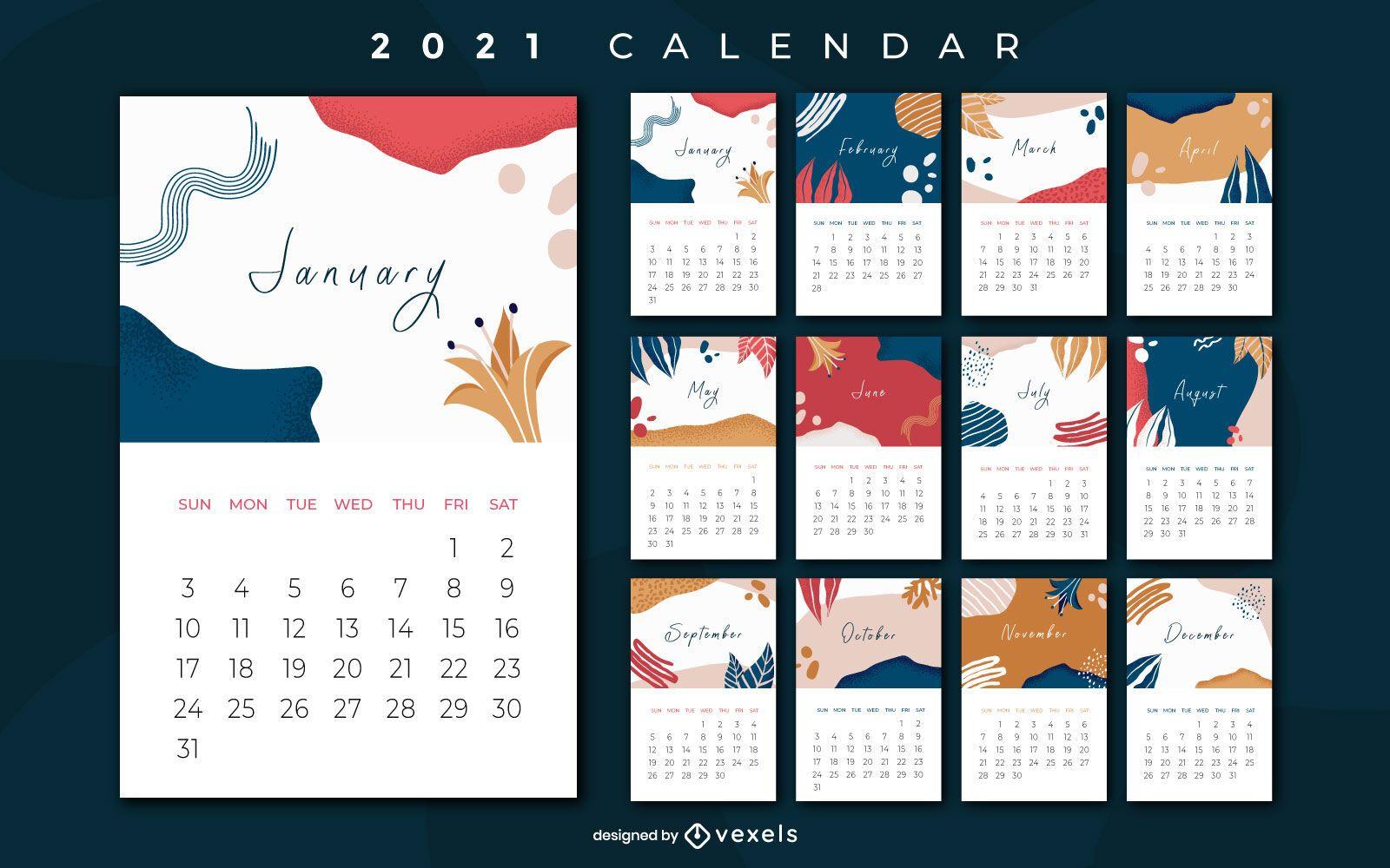 Diseño de calendario abstracto 2021 años