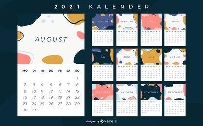 Calendário alemão abstrato de 2021