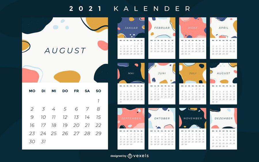 Abstract 2021 german calendar