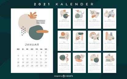 Projeto abstrato do calendário alemão 2021