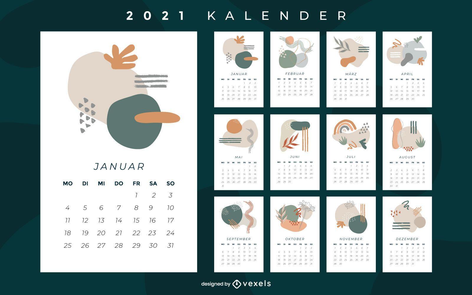 Diseño abstracto del calendario alemán 2021