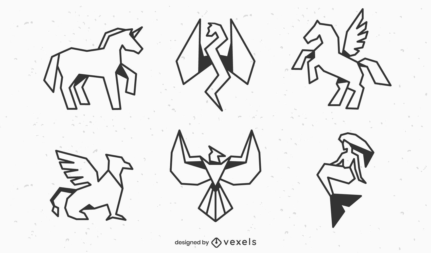 Conjunto de trazos de criaturas míticas geométricas