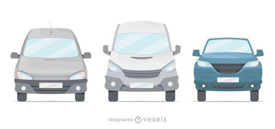 Conjunto de ilustración de furgonetas delanteras