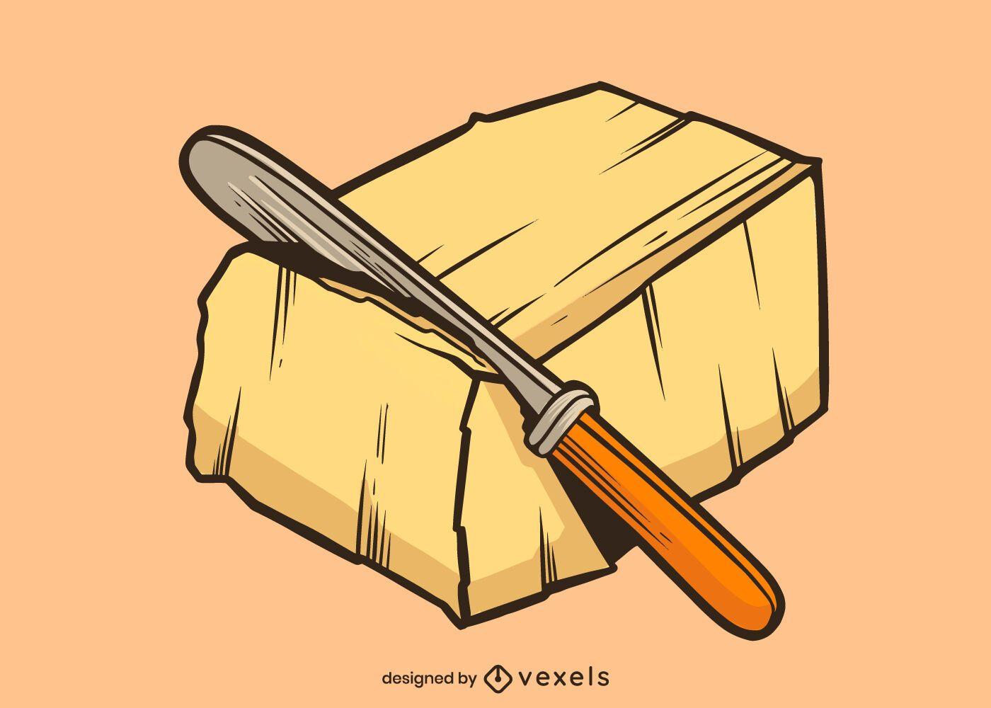Diseño de ilustración de bloque de mantequilla