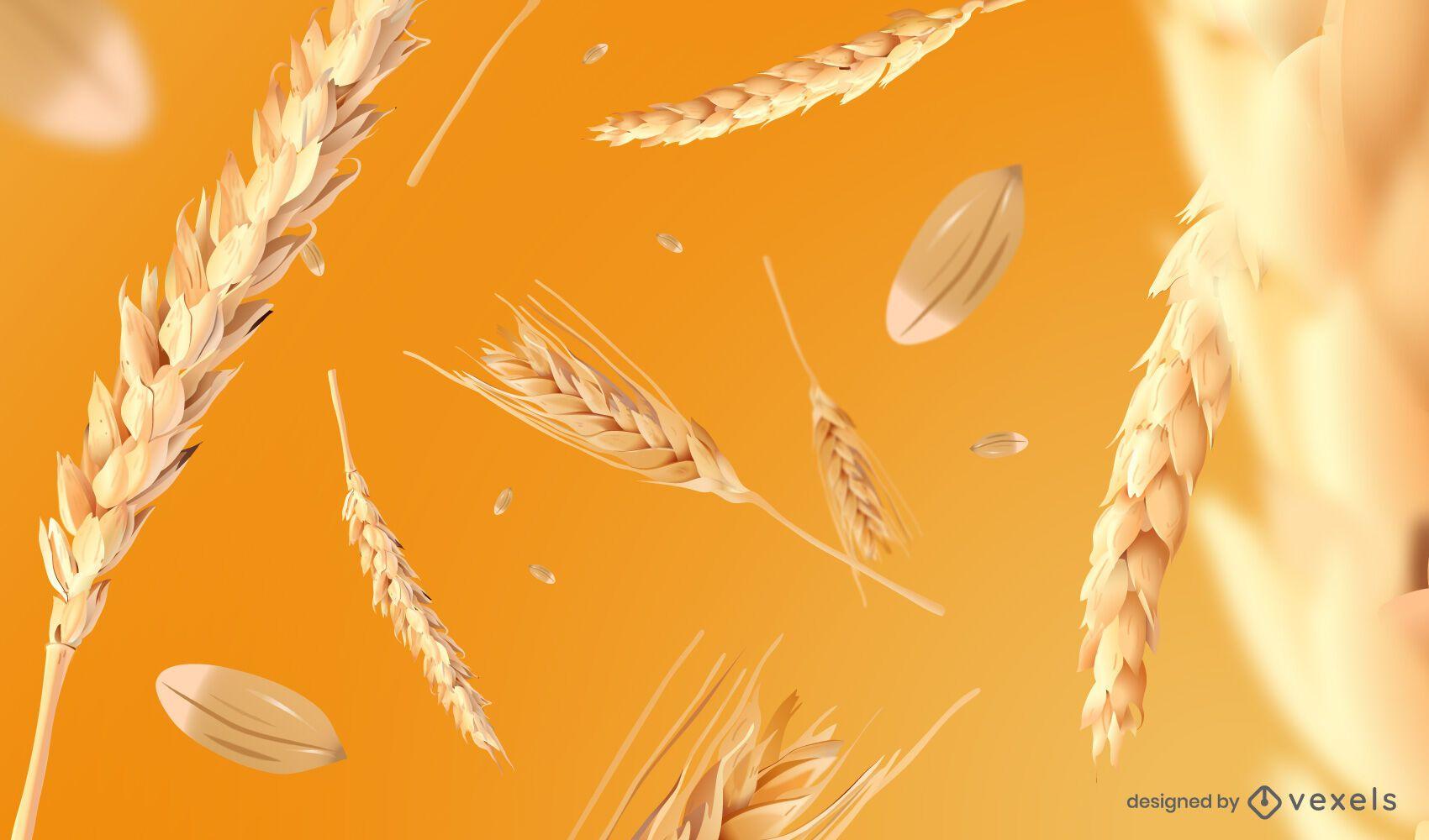 Wheat spikes background design