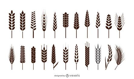 Wheat spikes icon set