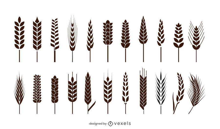 Wheat spikes icon set