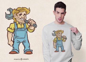 Handwerker mit Schraubenschlüssel-T-Shirt Design
