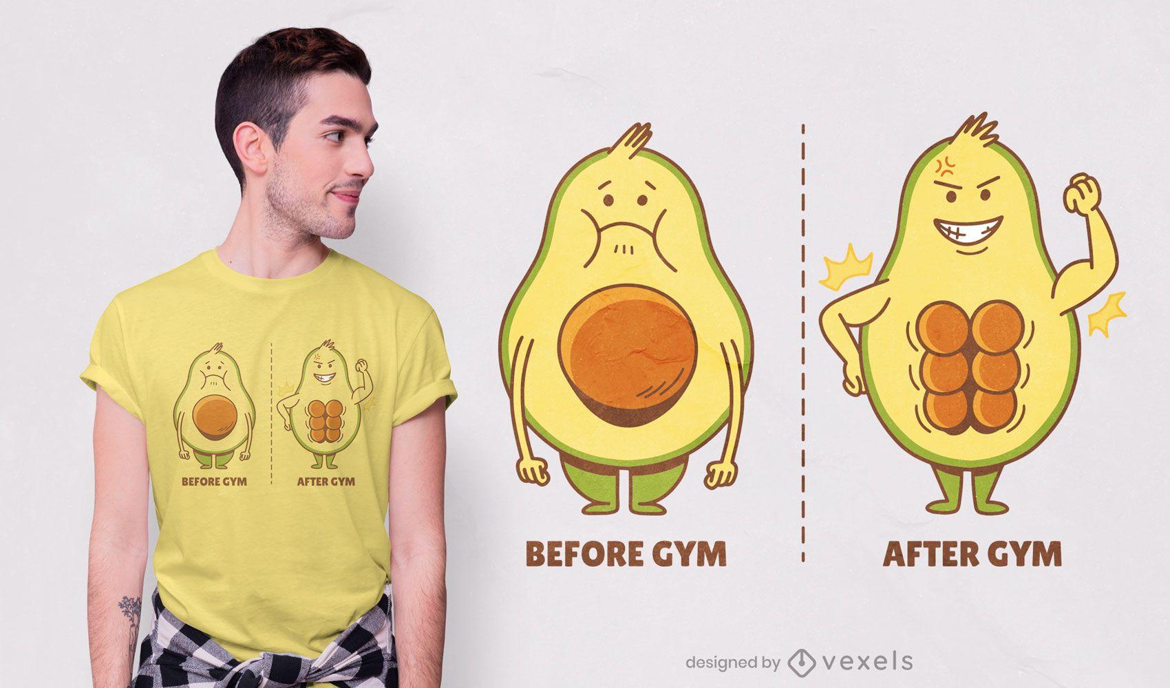 Diseño de camiseta de aguacate gym