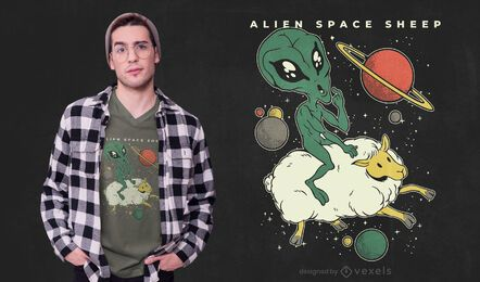 Diseño de camiseta de oveja espacial alienígena.