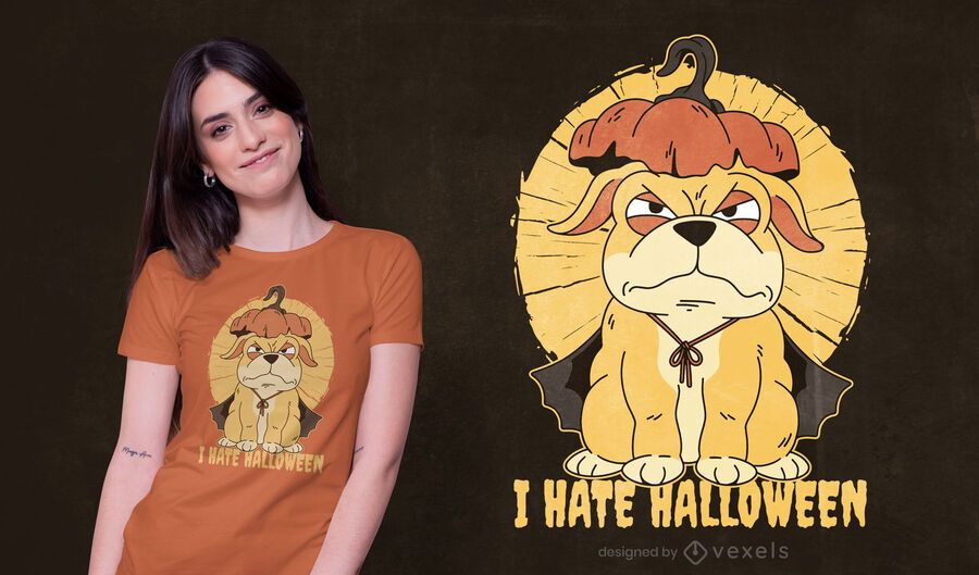 Design de camiseta de cachorro para o Halloween