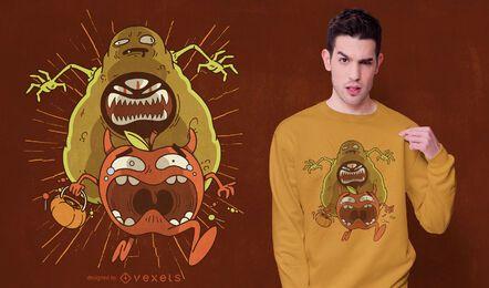 Diseño de camiseta de monstruo de aguacate.
