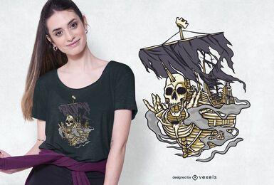 Design de t-shirt de navio pirata com caveira
