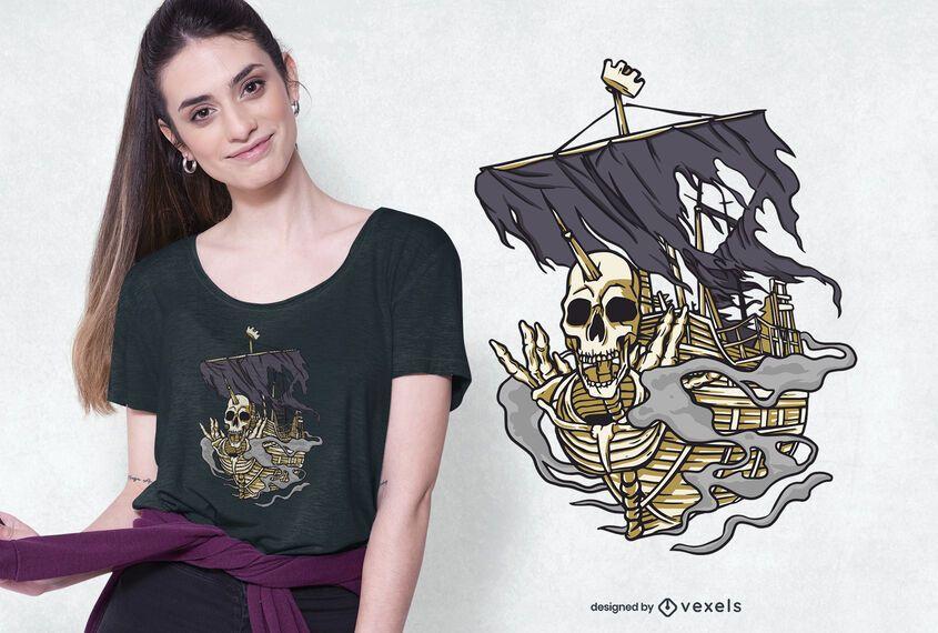 Skull pirate ship t-shirt design