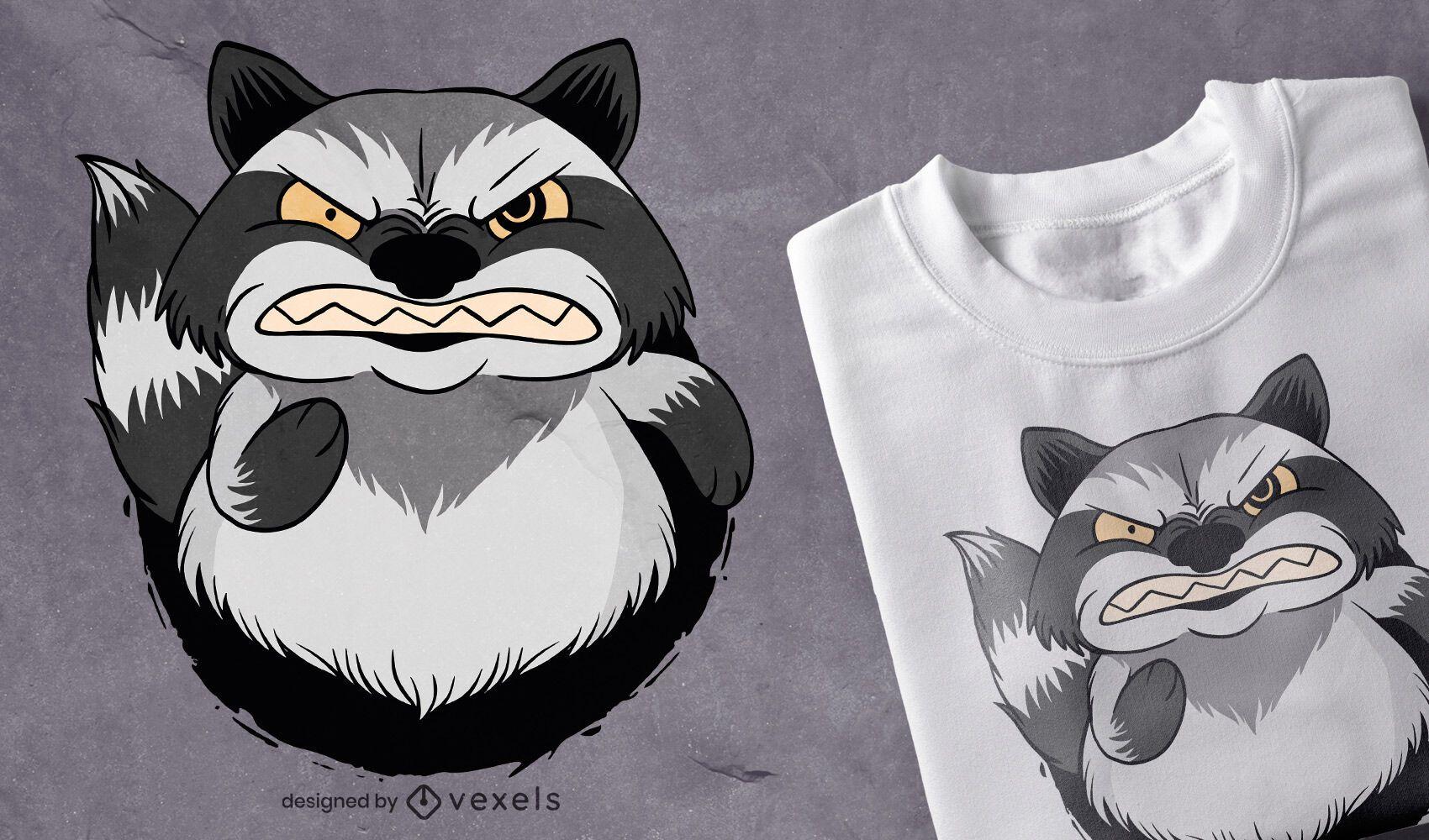 Design de camiseta de guaxinim zangado