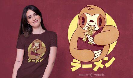 Diseño de camiseta ramen sloth