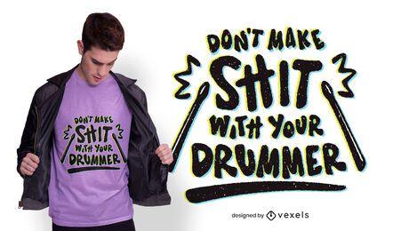 Diseño de camiseta con letras de baterista